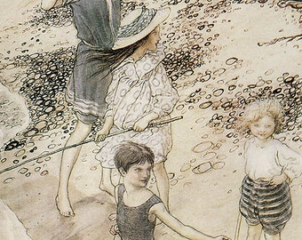 On the Beach, Arthur Rackham, Vinatge Art Print