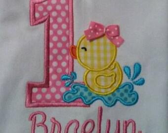 Little Duck 1st Birthday Onesie or Shirt - Machine Embroidered - First Birthday - One Applique Shirt or Onesie - 1st Birthday