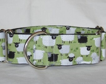 Happy Sheep Martingale Dog Collar - 1.5 or 2 Inch - green white black animal wool farm grass