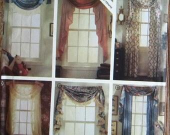 6 Styles of Window Swags Vintage 1990s Jiffy Simplicity Pattern 7204 UNCUT