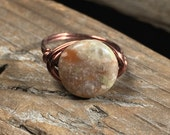 Chinese Unakite Stone antique copper wire wrapped Ring - SIZE 7.75 , 7 3/4 - olive green pink gemstone -  natural men women