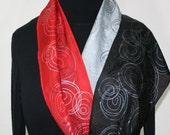 Grey, Red, Black Hand Painted Silk Shawl  VIBRANT SOUL, in Several SIZES. Handmade Birthday Gift, Mother Gift. Gift-Wrapped.