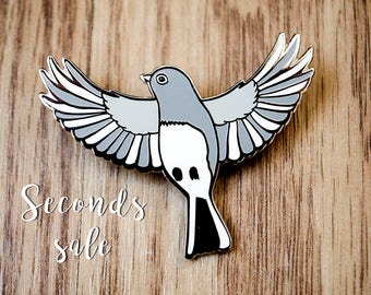 SECONDS SALE- CLEARANCE - Dark-Eyed Junco hard enamel pin, cute accessories, pin collectors, animal pins, bird pins-contains slight flaws
