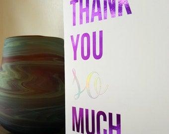 purple foil notecard | thank you so much | purple silver foil blank notecard