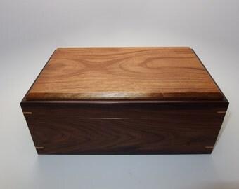 "Fine Exotic Keepsake Box. Exotic Bolivian Rosewood and Tigerwood Keepsake Box. 9.5"" x 6.25"" x 4"". Handcrafted Wooden Memory Box."
