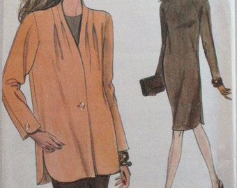 Very Easy Very Vogue Sewing Pattern - Misses/Misses Petite Jacket and Pullover Dress - Vogue 8483 - Sizes 14-16-18, Bust 36-40, Uncut