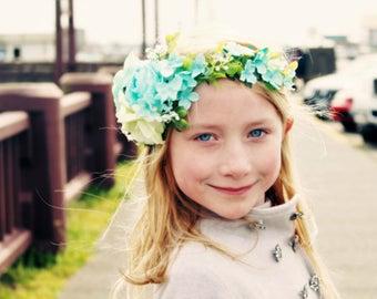 aqua flower headband, vintage turquoise headband, Rose headband, halo headband,flower girl headband,ready to ship,bridal headband