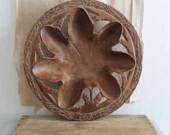 Vintage Carved Wood Leaf Bowl