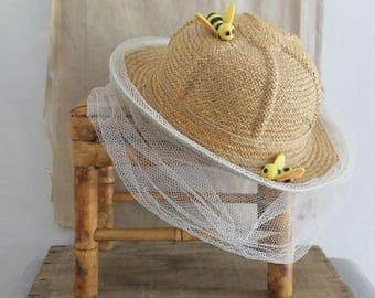 Vintage Childs Decorative Bee Keeper Hat, Childs Display Hat