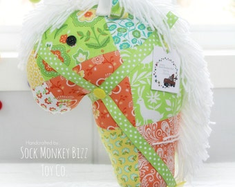 Kid's Stick Horse, Folklore Pieced Hobby Horse, Child's Ride-On Toy, One of a Kind