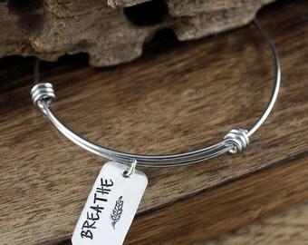 Breathe Bracelet, Inspirational Bracelet, Survivor Jewelry, Motivational Bracelet, Just Breathe Jewelry, Feather Bracelet, Stamped Bracelet