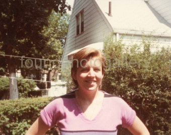 Vintage Photo, Young Woman, Pink T-Shirt and Hat, Clothing Line, Bushes, House, Color Photo, Vernacular, Found Photo, Old Photo