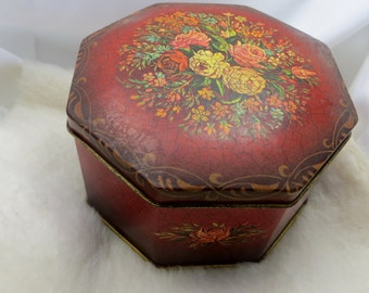Red Floral Vintage Candy Tin Hexagon Shape Made in England Hinged Lid Tin Candy Box