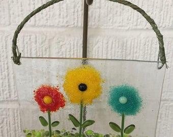 Fused Glass Flower Sun Catcher - Spring Flowers