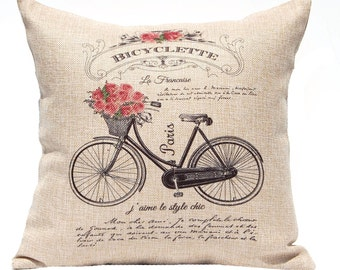 Decorative Pillow Cover - French Country Style - Vintage French Decor - Throw Pillow Cover - Roses and Bicycle -Faux Burlap Pillow - 16 x 16