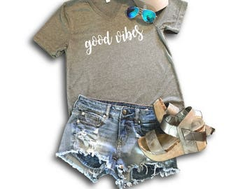 Heather Grey Good Vibes T-Shirt, Good Vibes V-neck, Good Vibes Tee, Southern Tee, Southern T-Shirt