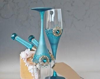 Wedding Glasses, Cake Server Set, Wedding Set, Peacock Wedding, Teal Wedding, Hand painted