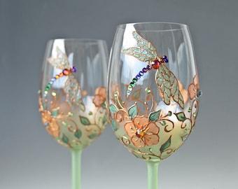 Wine Glasses, Dragonfly Glasses, Wedding Glasses, Green Glasses, Hand Painted Set of 2