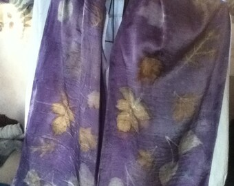 shimmery charmeuse SILK eco dye scarf with logwood overlay 14 x 72