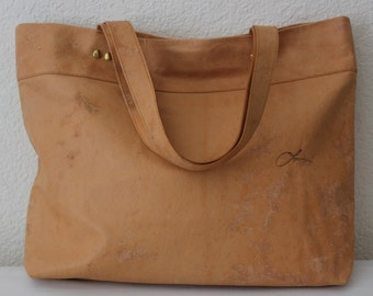 """Leather Vegetable Tanned Tote Bag, Large """"Camel"""" Leather Tote Bag, Large Brown Leather Bag, Large Leather Tote Bag, Leather Tote Bag"""