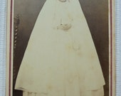 Antique French CDV Photograph - Girl in Confirmation Gown & Long Veil (Brochet, Evreux, France)