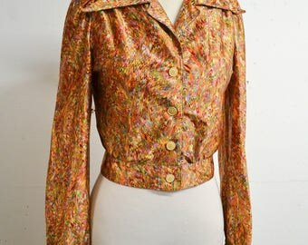 1970s Psychedelic 30s style dagger collar blouse / 70s orange printed satin disco ladies shirt top - S M
