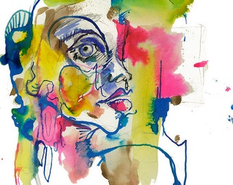 Original Abstract Surreal Watercolor Portrait Drawing, Bright Colorful Face Illustration - 10.12