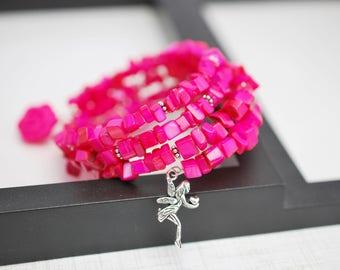Hot Pink Bracelet, Pink Wrap Bracelet, Memory Wire Bracelet, Beaded Bracelet, Pink Bracelet, Beaded Wrap Bracelet, Shell Bracelet, Hot Pink