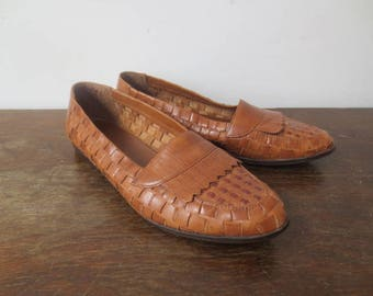 Vintage '70s/'80s Westies Woven Leather Pointed Toe Loafers, US Women's Size 7.5/8