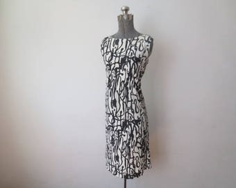 Vintage '60s Boutique of California Black & White Abstract Sleeveless Shift Dress, 36 Inch Bust