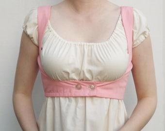 Regency Style Weskit Waistcoat Pink Ready To Ship- Jane Austen Vest Underbust Spencer Jacket Costume Accessory Reenactment Women's Small