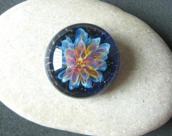 Rainbow Flower - Lampwork Glass Cabochon - Jewelry Making Supply - 20mm