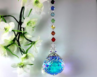 BIG 40mm RAINBOW MAKER - Aurora Borealis Fine Crystal Ball SunCatcher Ornament + Swarovski Chakra Beaded Strand, Pearl Place N More