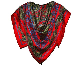 Cambridge Spirit Silk Scarf 35 in sq Vintage Signed Paisley Twill Bright Red Navy Green Gold Preppy Traditional Classic Excellent Condition