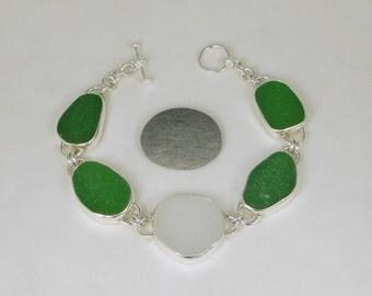 Green And White Sea Glass Bezel Bracelet