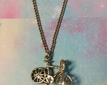 Vintage Gold Tone Bicycle Charm Necklace