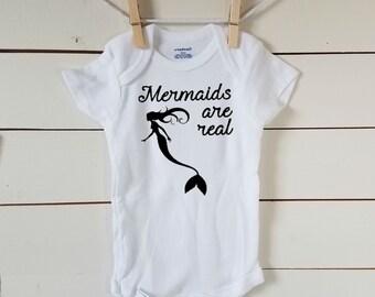 Mermaids are Real Onesie. Mermaid Life Baby Onesie. FREE SHIPPING! Trendy Baby Girl Bodysuit. Little Mermaid. Mermaids. Baby Tshirt.