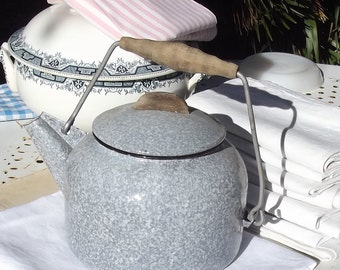 Vintage Antique French Kettle Eggshell grey enamel with wooden handle 1930s Good Condition