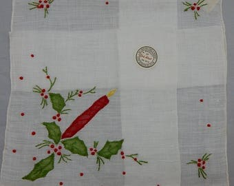 New Old Stock YORK STREET Madeira Hand Appliqué Embroidered Christmas Candle & Holly Handkerchief w/ Original Label