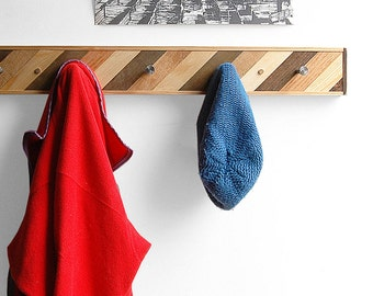 5 Hook Coat Rack Reclaimed Wood - Diagonal Style