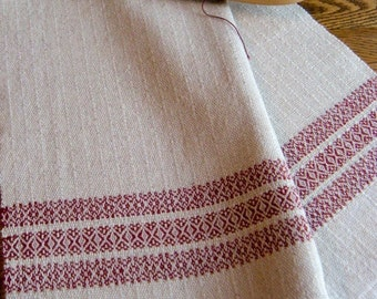 Kitchen Towel, Handwoven Towel, Hand Woven Guest Towel, Tea Towel, Handwoven Dish Towel, Loom Woven Chef Towel, Cranberry and Natural Linen