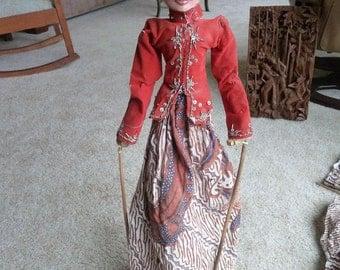 "lIndonesian Rod Puppet (Wayang Golek) - Stick puppet from Indonesia - Wayang Golek Puppet - Theater Puppet - Bali - Javanese Art - 25"" tall."