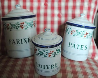 Enameled FRENCH Kitchen canisters set 3 Pieces