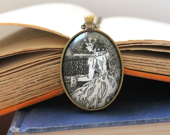 Little Women pendant - Louisa May Alcott - piano teacher gift - musician jewelry - music necklace - book page jewelry - literary necklace