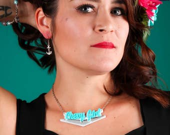 """Chevy Girl Turquoise Laser Cut Acrylic Layered  Necklace 18"""" Chain"""