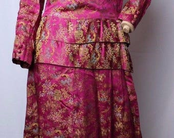 Vintage 50's Silk Shiny Satin Asian Oriental Chinese Brocade Dress