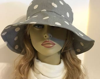 Womens Sun Hat, Garden Hat, Beach Hat, in grey / cream polka dot print