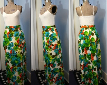 Vintage Womens 1960s 1970s Long Floral Maxi Skirt Modern Size Small Tiki Boho Nubby Barkcloth Like Fabric