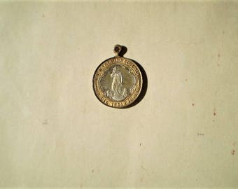 B. V. Maria Immacolata - Antique Medal or Pendant - Round - Bronze - Pio X Roma - 1854 Pope Pio IX - Catholic - Holy Charm