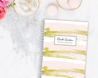 Bullet Journal Planner Weekly Personalized Notebook - Brush strokes | Custom | Stationery | Monogram | Journal | Agenda | Organiser | Goals